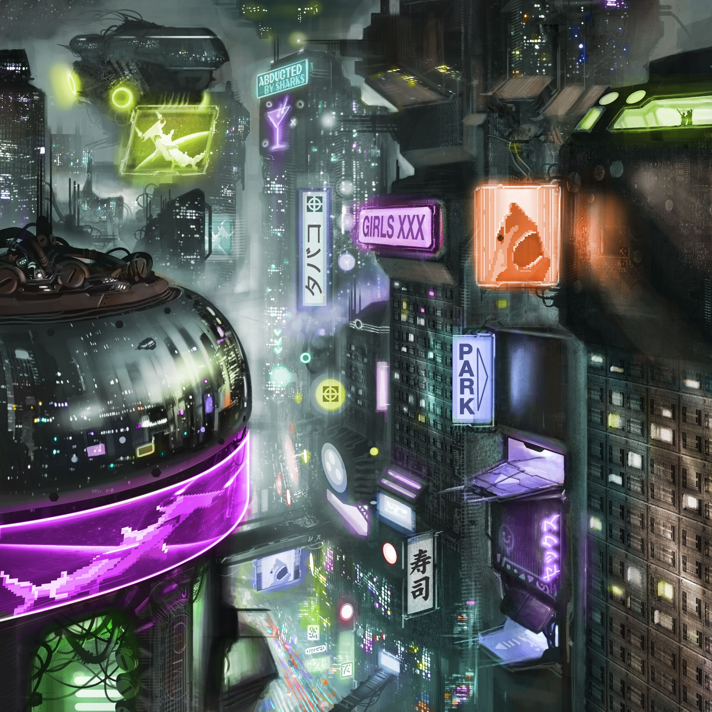 This image by Igor Sobolevsky does well to capture the grittiness of a dystopian future city here.