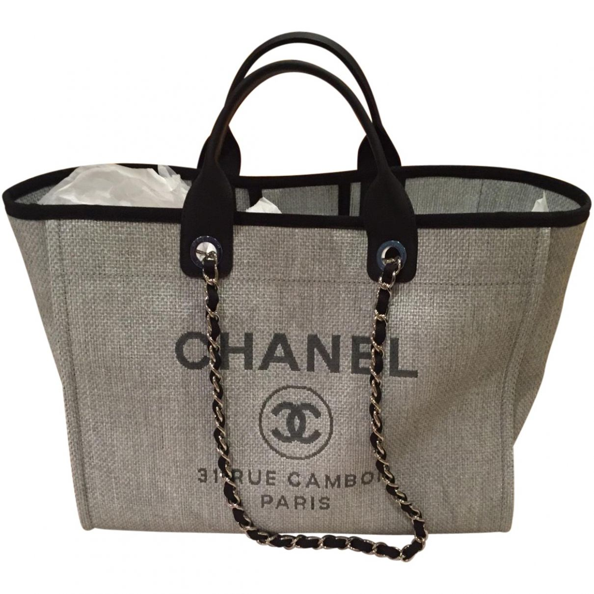Chanel Grey Deauville tote | Chanel chanel, Gray and Bag