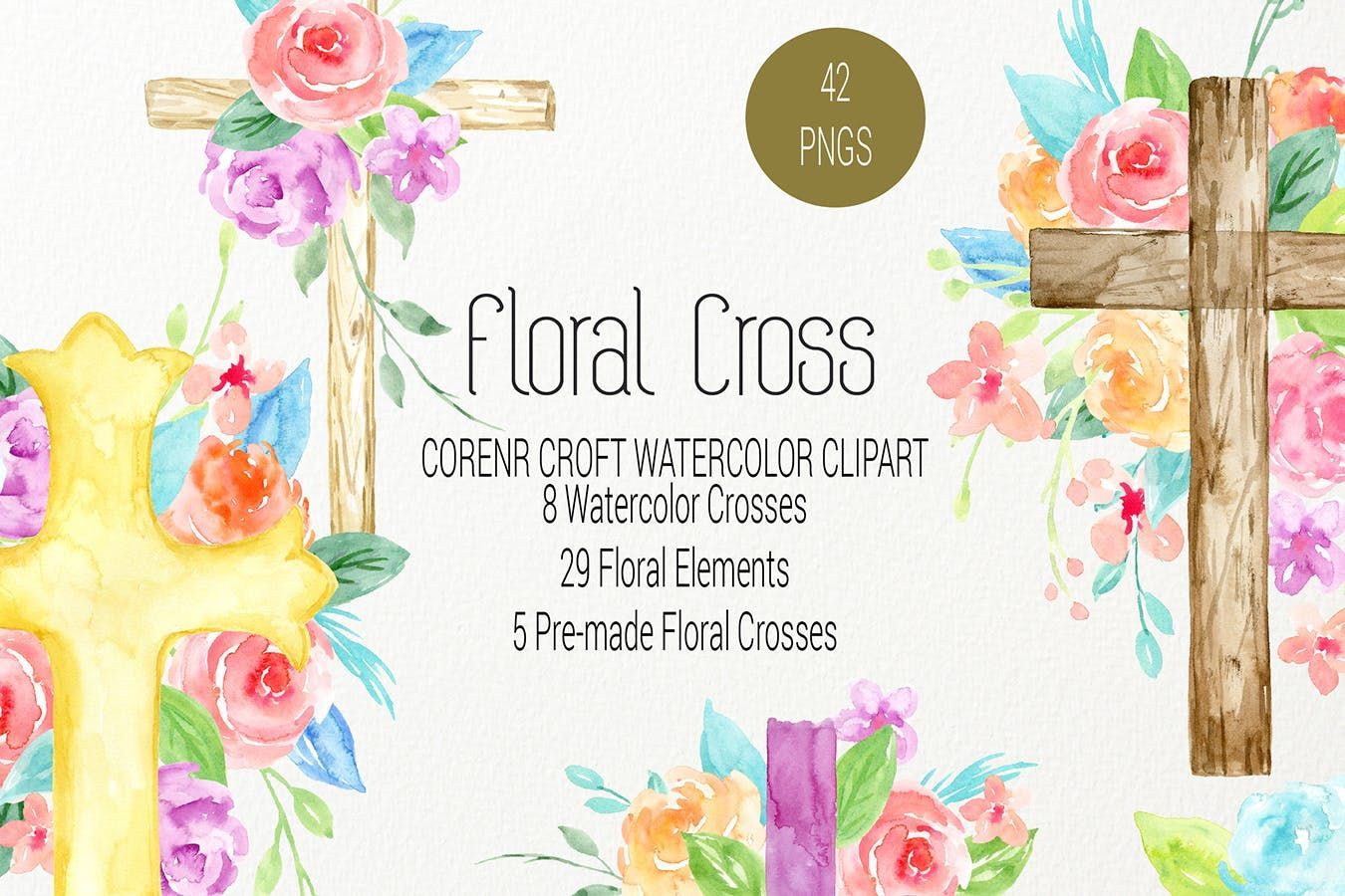 Watercolor Clipart Floral Cross By Cornercroft On Envato Elements