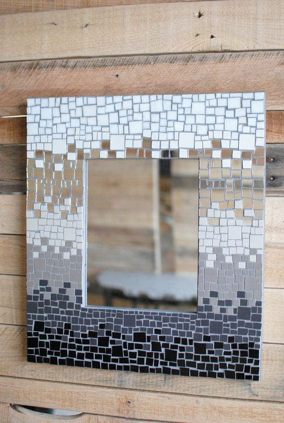 Mosaic Art Mirror Frame in Black, Grey, & White. \