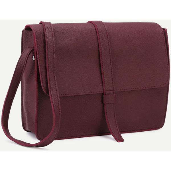 c294bf486c SheIn(sheinside) Burgundy Faux Leather Flap Messenger Bag ( 19) ❤ liked on  Polyvore featuring bags