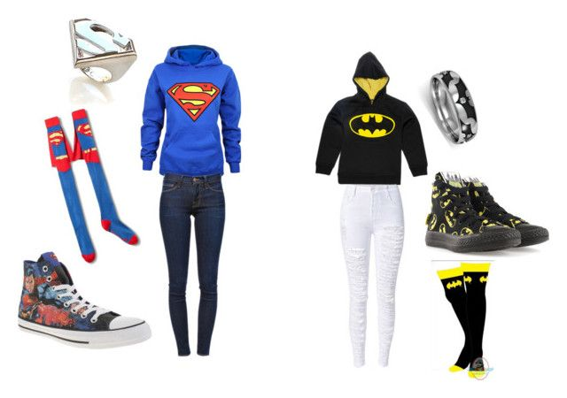 """Superman .vs. Batman"" by kennzie-186 ❤ liked on Polyvore featuring Frame Denim, Converse and Noir"