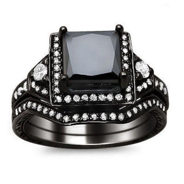 1.90CT PRINCESS BLACK DIAMOND ENGAGEMENT RING BRIDAL SET 14K BLACK GOLD GP $1350