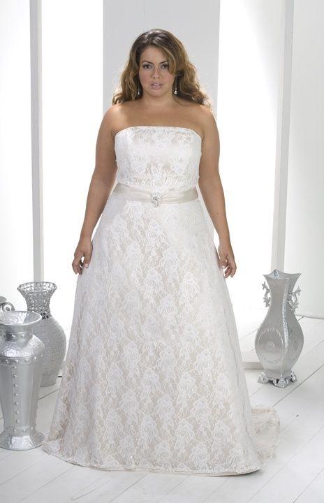 A Line Strapless Beading Satin Lace Wedding Dresses Plus Size.