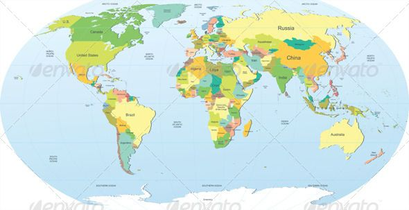 Political world map vector shapes font logo and fonts political world map graphicriver great highly detailed political world map eps 10 and ai gumiabroncs Gallery