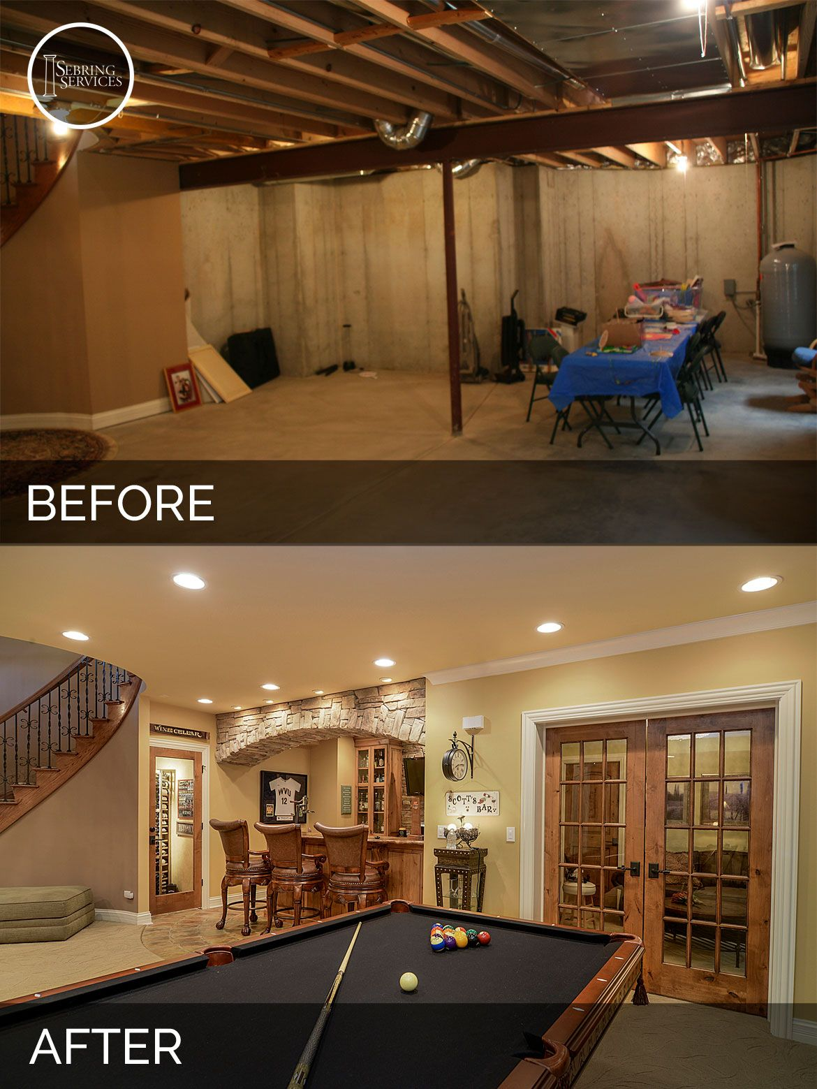 brian danica 39 s basement before after pictures basements house and men cave. Black Bedroom Furniture Sets. Home Design Ideas