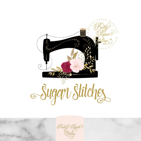Custom Logo Design Sewing Machine Logo Pink Floral Watercolor