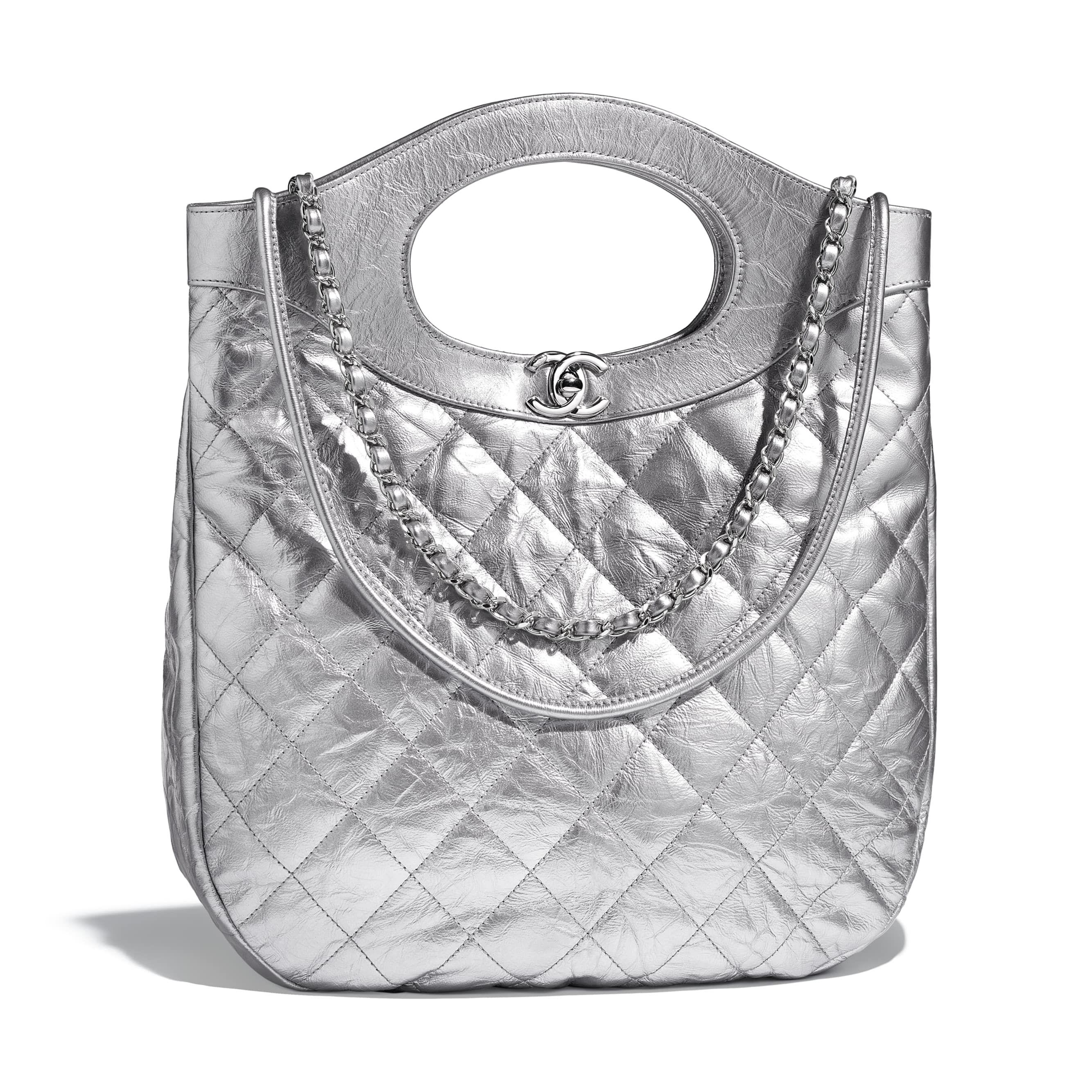 6a66895cbd CHANEL 31 Small Shopping Bag - Silver - Metallic Crumpled Calfskin ...