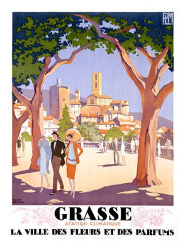 GRASSE COTE D/'AZUR vintage travel poster FRENCH TOWN old fashioned 24X36 NEW