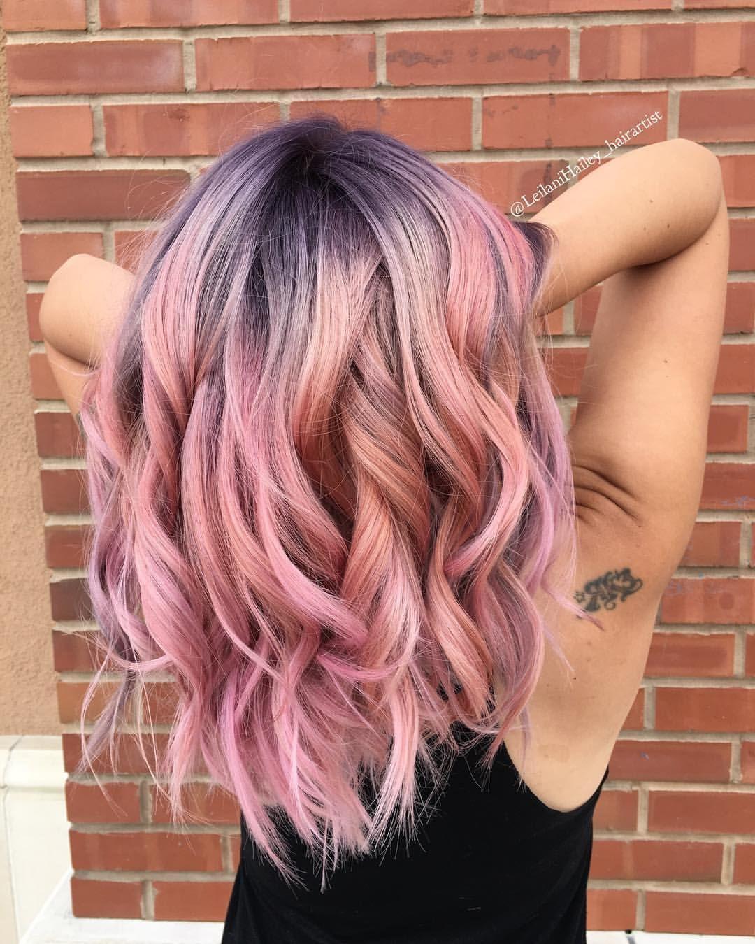 Purple Shadow Root Pink Hair With Curls Hair Shadow Pink Hair Purple Hair