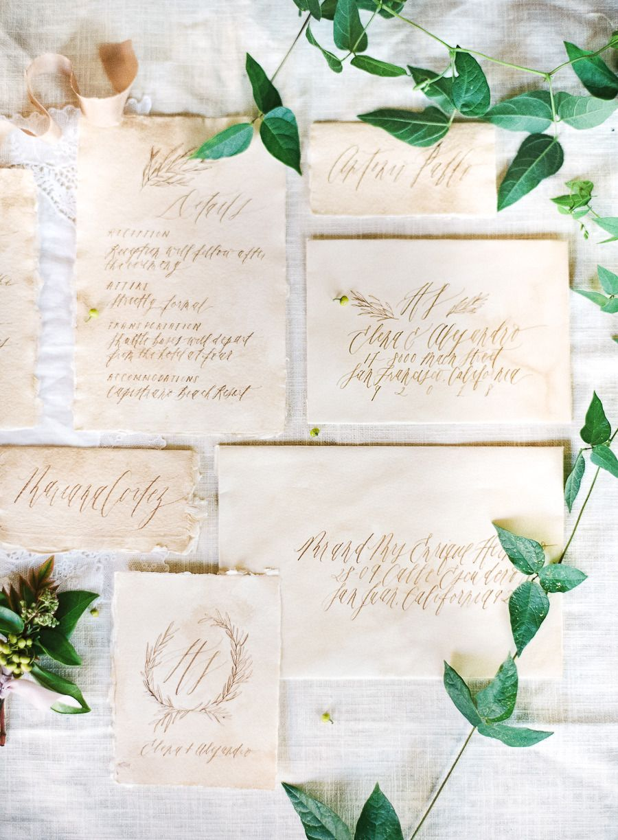 paper style wedding invitations%0A    Details for an Organic  u     Naturally Elegant Wedding  Style Me Pretty