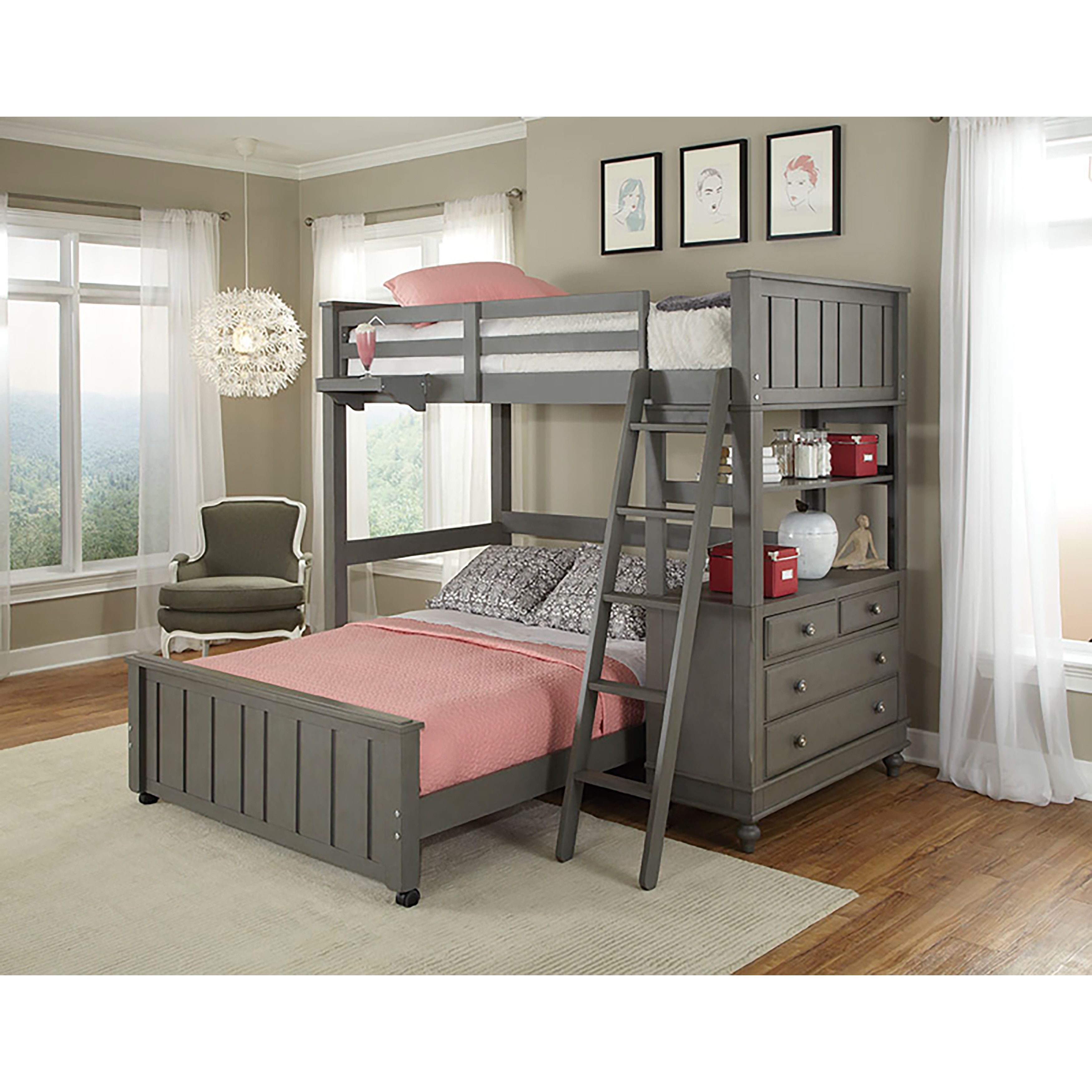 ne kids lake house stone grey twin loft bunk bed with full lower