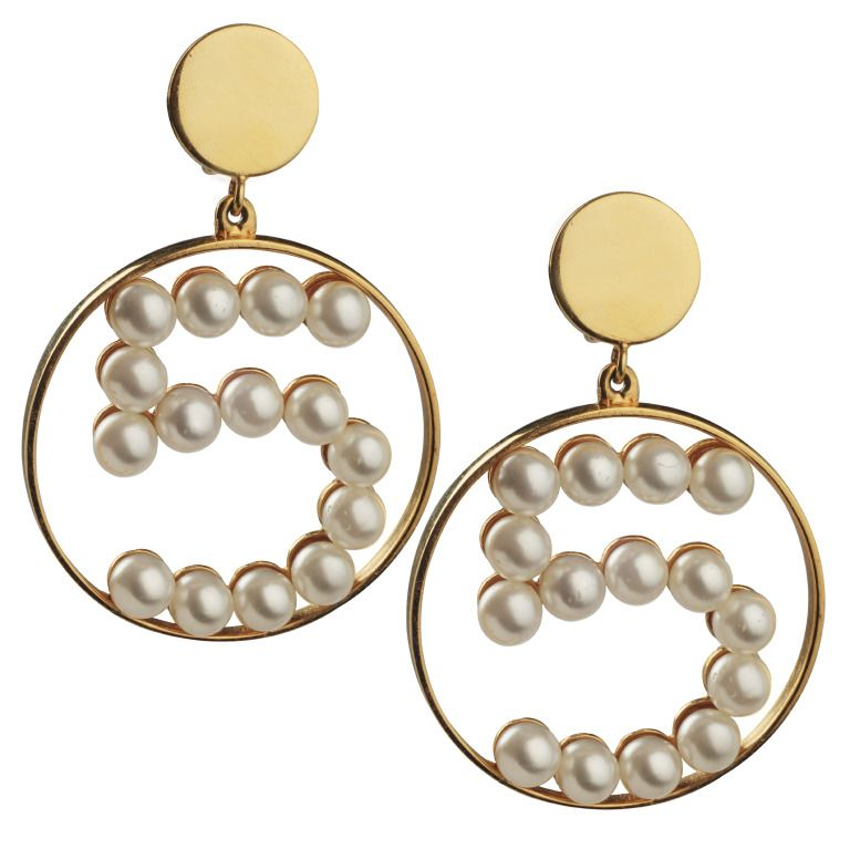 Unusual Chanel Number 5 Earrings With Pearls From A Unique Collection Of Vintage Hoop