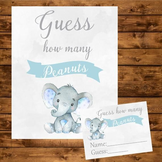 Blue Elephant Baby Shower Peanuts Guessing Game Blue and Gray Guess How many Peanuts Game Instant Download Boy Baby Shower Guessing Game