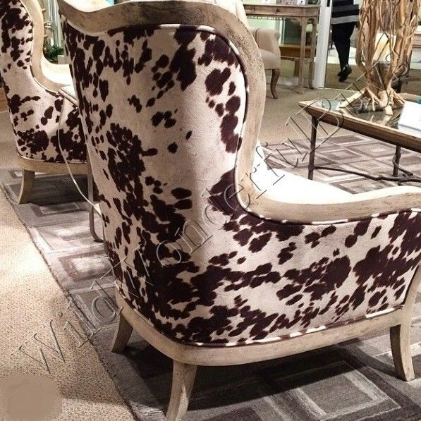 TRANSITIONAL Cowhide Wingback ARM CHAIR Cow Hide Off White Rustic