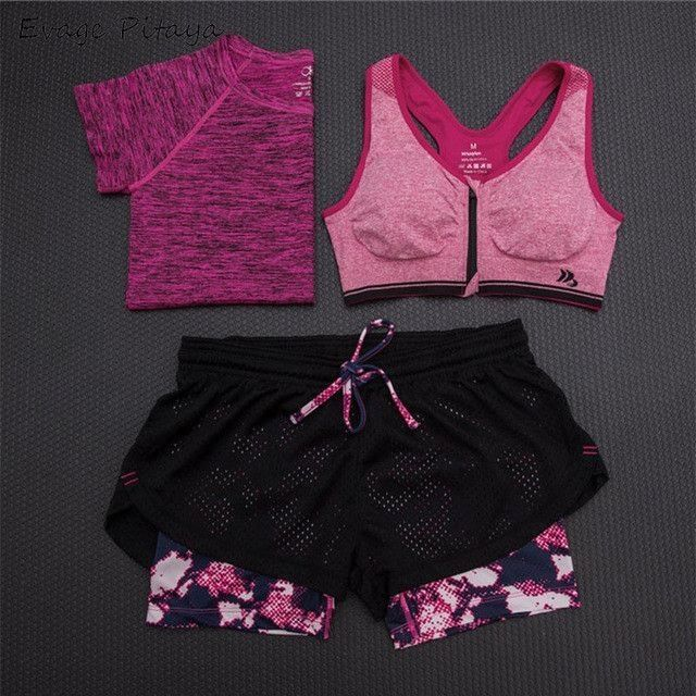 Women Fitness Yoga Set T-Shirt & Bra & Cropped Trousers (3 Pieces)