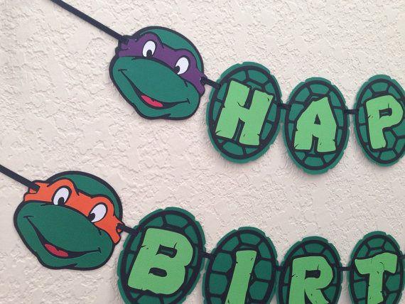 Ninja Turtles Birthday Banner Tmnt By Niudesigns On Etsy Ninja Turtle Birthday Turtle Birthday Parties Ninja Turtles Birthday Party