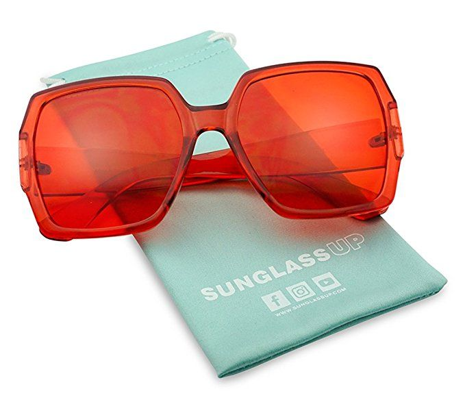 7a4bfcc28fe2 Extreme Oversize Square Colorful Transparent Designer Inspired Super Flat  Acrylic Sun Glasses (Red Frame