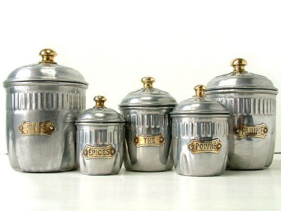 French Vintage ART DECO Kitchen Canister Set In Aluminum With Brass  Details. Set Of French Country.