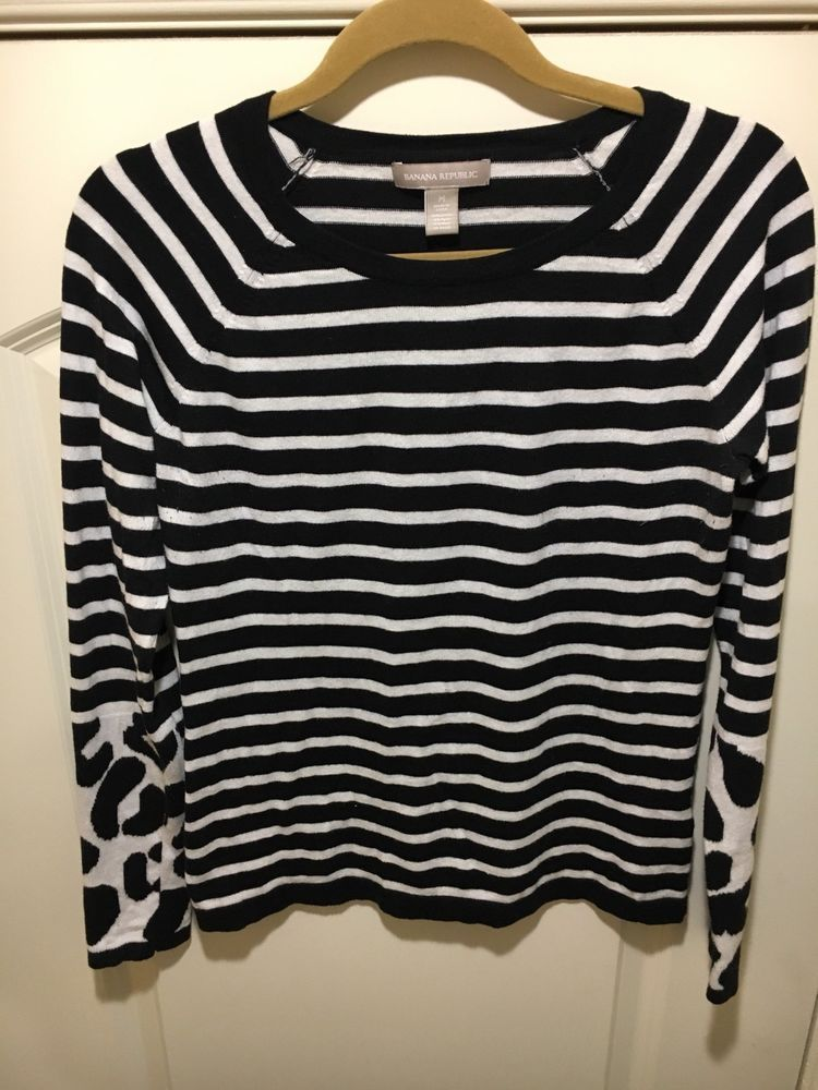 Banana Republic Womens Long Sleeve Black White Striped Sweater