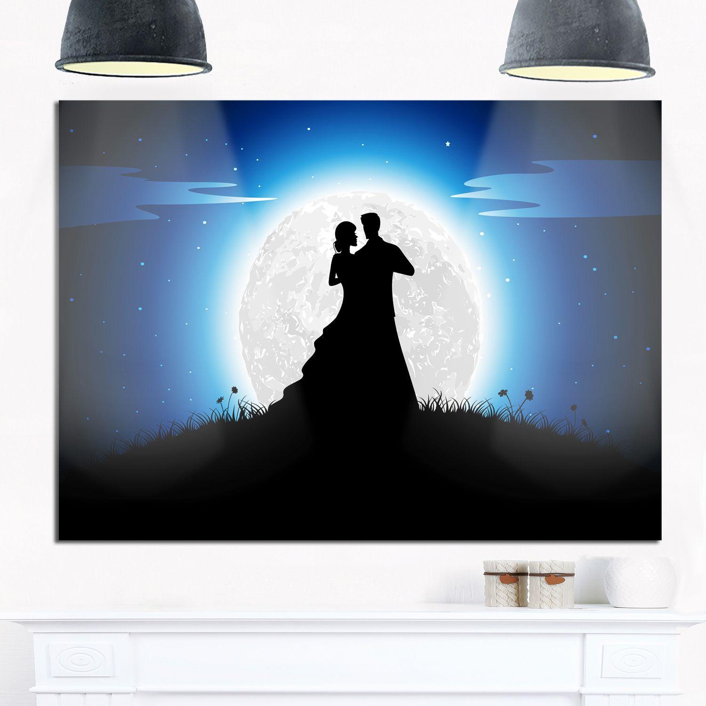 Couple embrace in night romance art glossy metal grey wall art