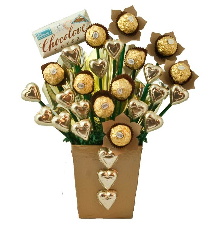 Gold 10 CHOCLOATES CARAMAL Ivory Ferrero Rocher Flower /& Chocolate Bouquet