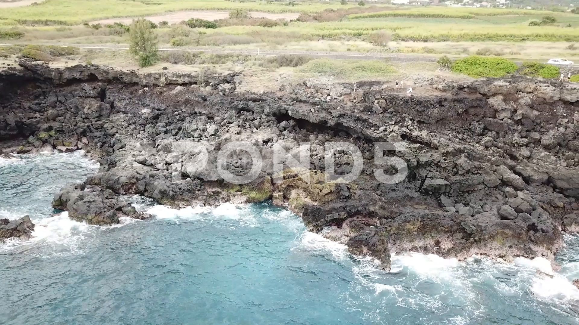 Reunion Island At the edge of the ocean Stock Footage quotIslandReunionedge