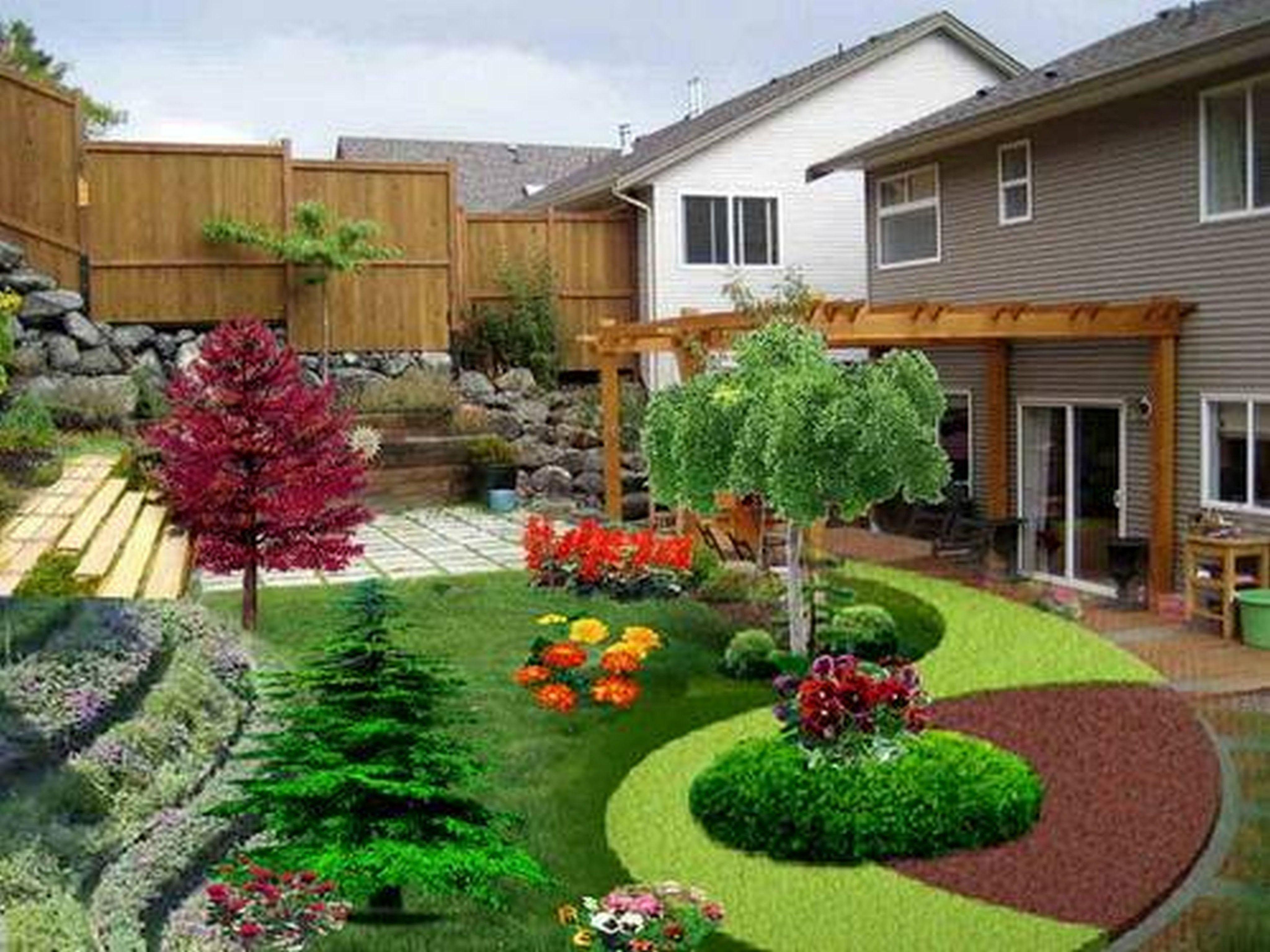 Flower Garden Ideas In Front Of House Sloped Backyard Landscaping Backyard Landscaping Backyard Garden