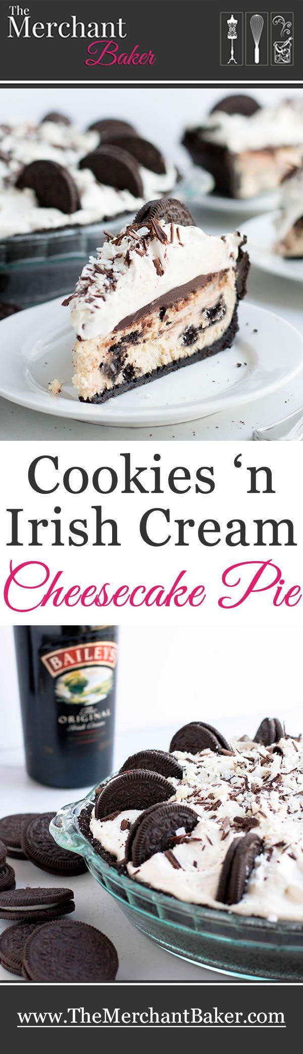 Cookies 'n Irish Cream Cheesecake Pie. There's Irish cream in the cheesecake, the ganache and the whipped cream. Cookies 'n cream just got more fun!