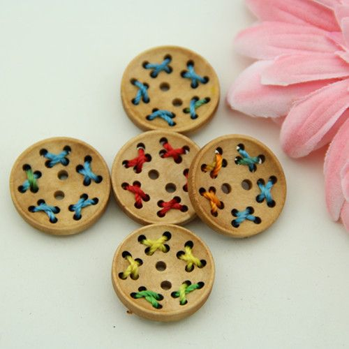 for Sewing Crafts Scrapbooking Pack of 20 Tree 2 Holes Round 20mm Wooden Buttons Knitting shabby chic Jewellery making Embelishments