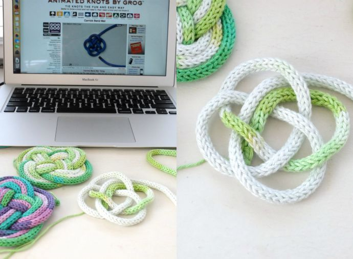 French Knitted Knotted Coasters | Coasters, Loom knitting and Craft