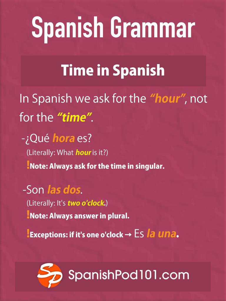 Spanish Grammar Tip Always Ask For The Time In Singular And Always Answer In Plural Except When It Learning Spanish Learn Spanish Online Spanish Grammar