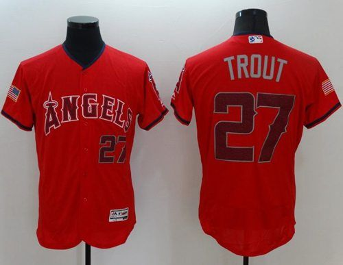 angels of anaheim 27 mike trout red fashion stars stripes flexbase authentic stitched mlb jersey