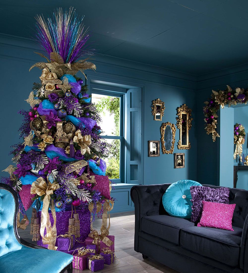 Blue and Purple Christmas Decor from the article 15