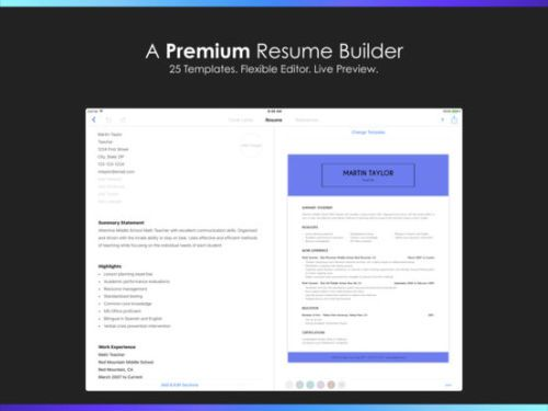 Resume Builder By Nobody Business Productivity Ipad App
