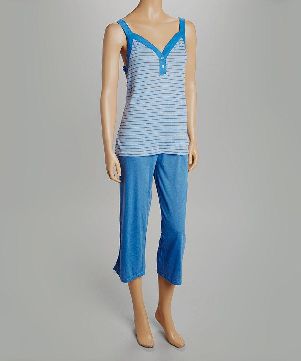 Blue Stripe Capri Pajama Set - Women   Plus by Amanda Paige Sales  zulily   d82679e9f