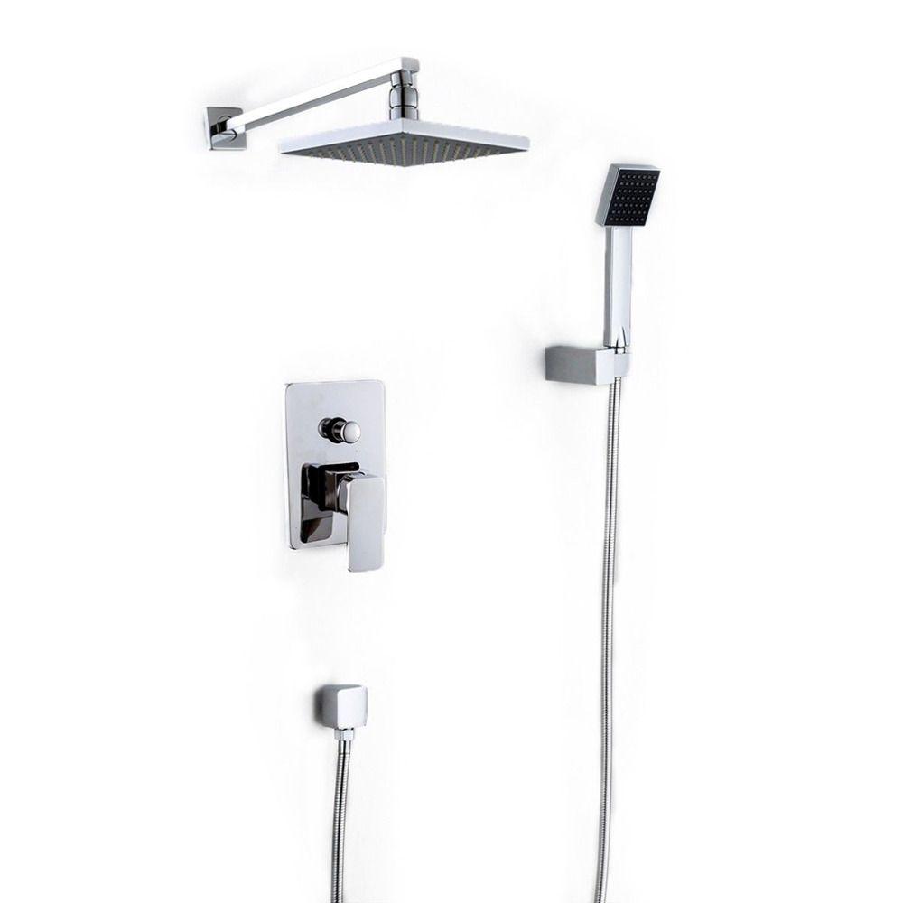 Wall Mounted Rainfall Shower Head Arm Control Valve Handspray Faucet ...