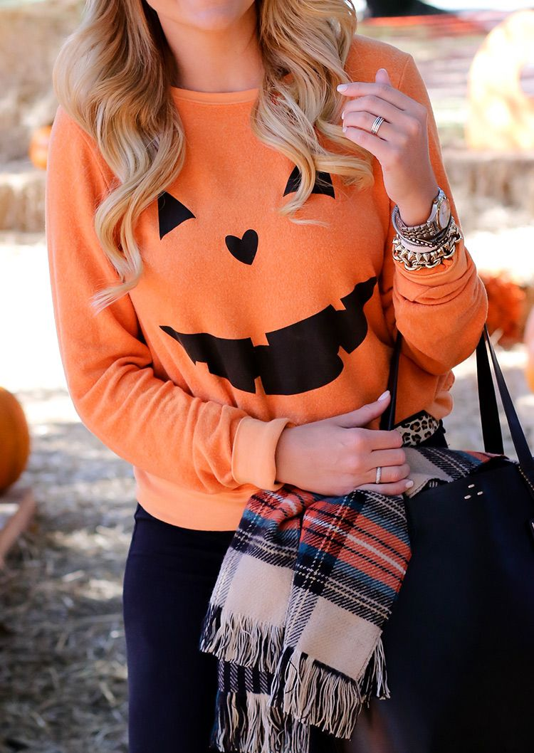 Halloween Pumpkin Printed Casual Sweatshirt Fairyseason
