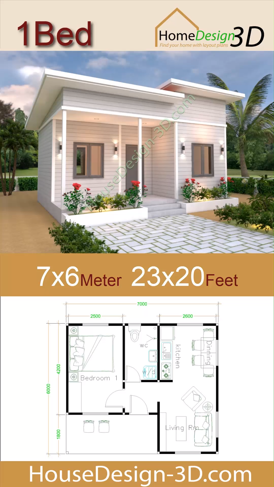 House Plans 7x6 With One Bedroom Shed Roof House Plans 7 6 With One Bedroom Shed Roof The House Has Car Par In 2020 Small House Design House Plans Sims House Plans