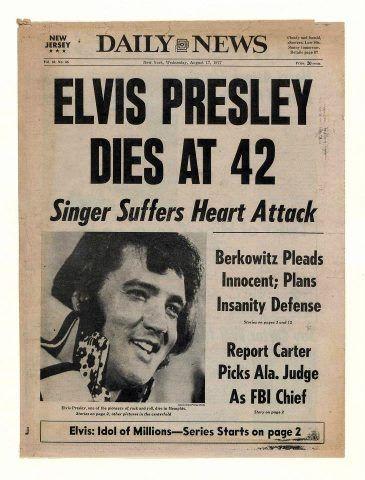 August 16, 1977 | Elvis presley, Elvis, Newspaper headlines