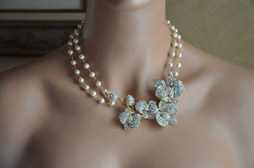 Bridal Necklace,Gold,Pearls,Crystal,Victorian Weddings,Vintage