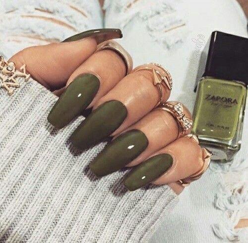 Olive Green Coffin Nails Ad Nails Green Nails Gel Nails