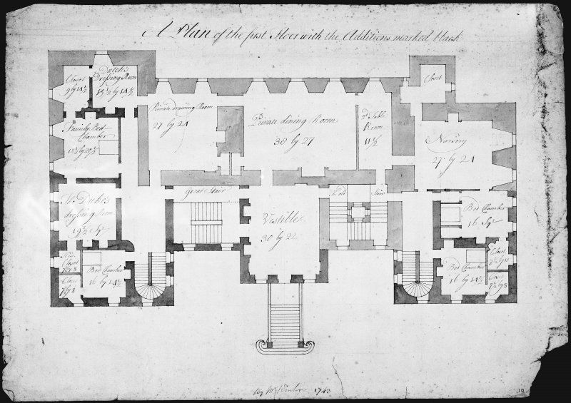 photographic copy of first floor plan showing additions