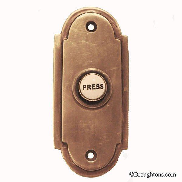Edwardian Door Bell Push Antique Satin Brass - Edwardian Door Bell Push Antique Satin Brass Doors, Door Handles