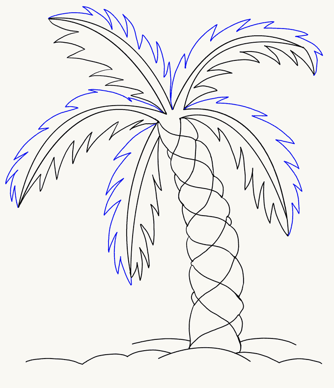 How To Draw A Palm Tree Really Easy Drawing Tutorial Palm Tree Drawing Tree Drawing Palm Tree Drawing Easy