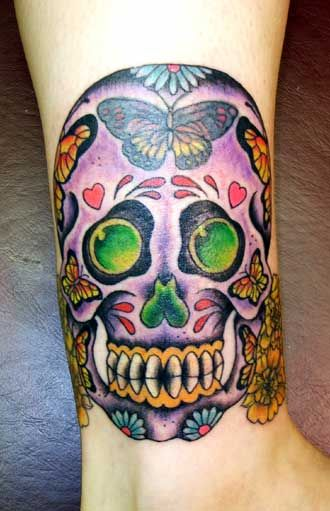 dia de los muertos skull with marigold tattoos   Tattoos > Alex Sherker > Page 3 > Purple Dia De Los Muertos Skull
