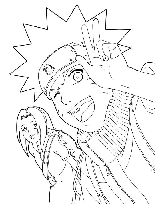 Naruto And Sakura Smile Coloring Pages Anime Art Zeichnen