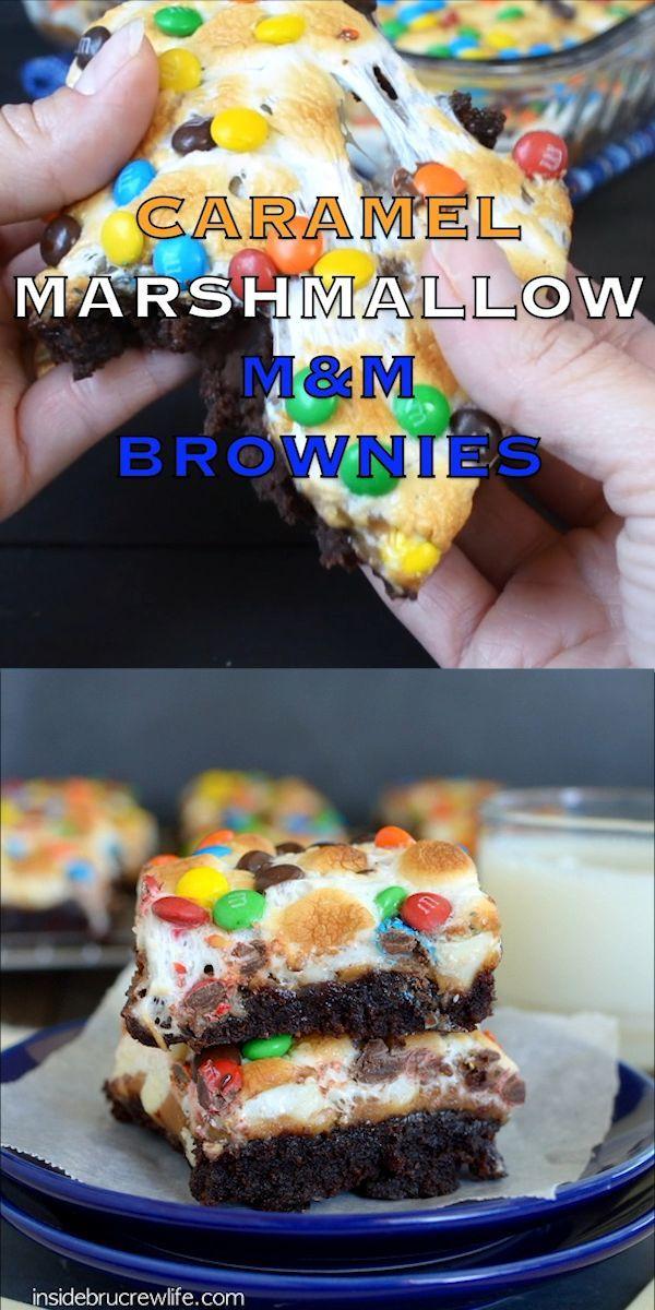 Karamell Marshmallow M & M Brownies #healthymarshmallows
