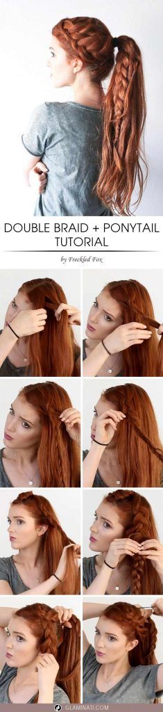 Hair Tutorial How To Do A Double French Braid With Ponytail This