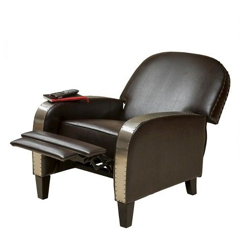 Christopher Knight Home Barrister Bonded Leather Recliner   Brown With  Metal Arms, Brown Leather